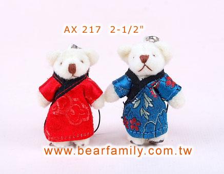 中式迷你婚礼小熊一对